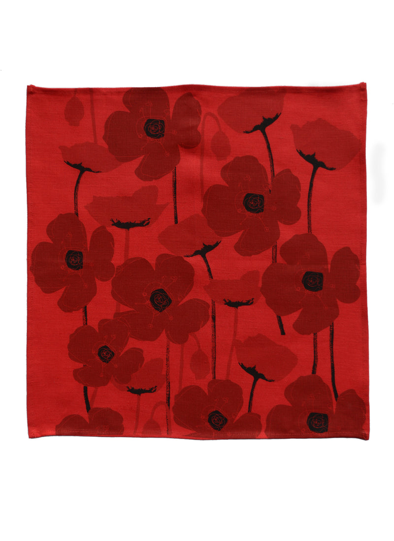 Napkins Poppies Red