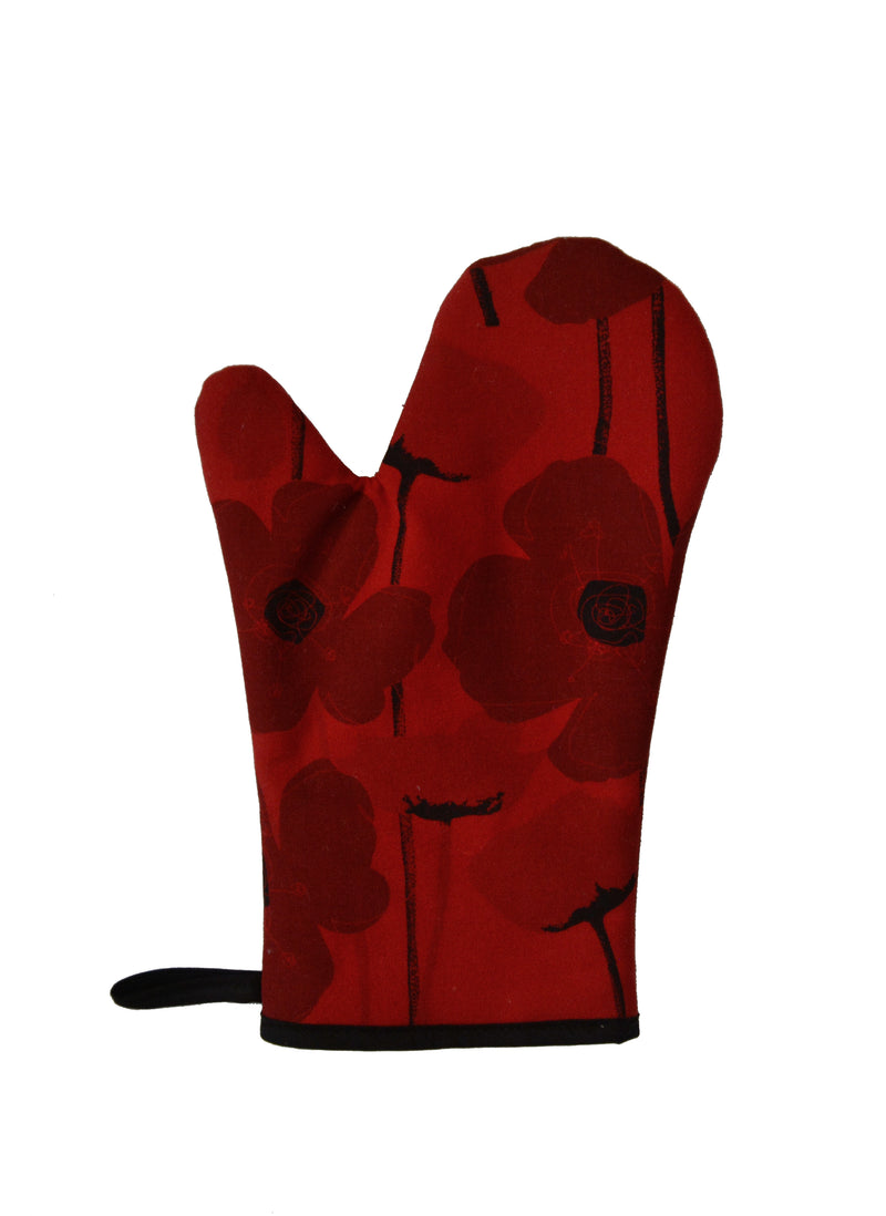 Oven Mitts Poppy Red
