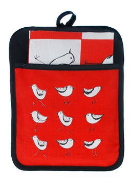 Pocket Pot Holder Birds Red