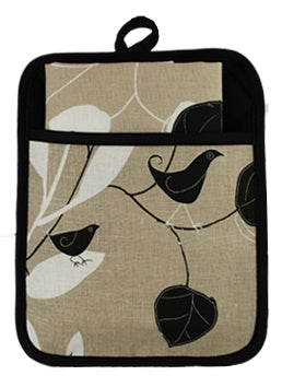 Pocket Pot Holder Botanical Birds Taupe