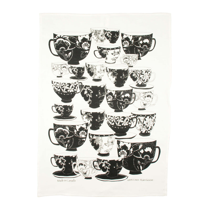 Tea Towel Tea Cups Black