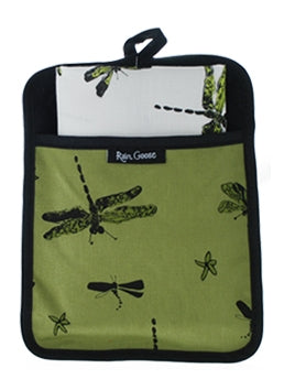 Pocket Pot Holder Dragonfly Green