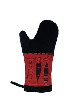 Oven Mitts Vertical Fish Red