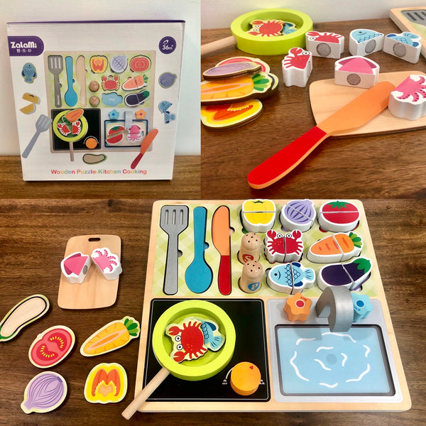 Wooden Puzzle Kitchen Cooking Set