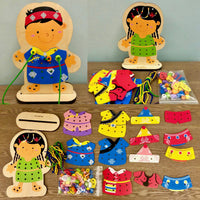 Wooden Lacing Doll Set
