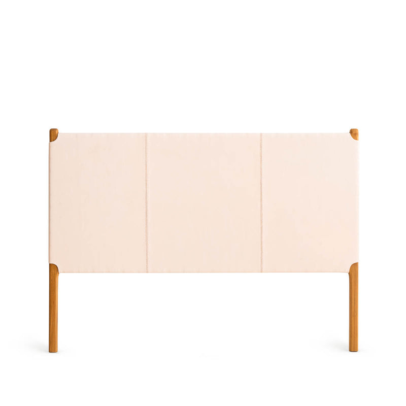 Clifton Queen Bedhead Teak - Flat Leather Rose Blush