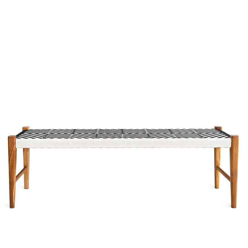 Kent Bench Teak - Synthetic Black & White