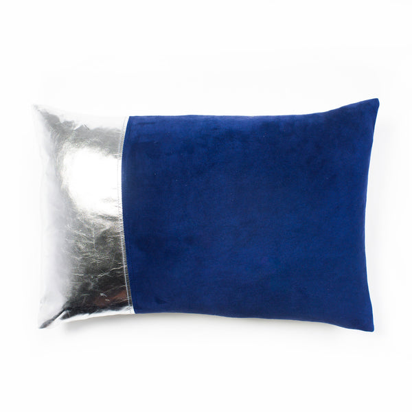 Lang Leather & Suede Cushion- Navy
