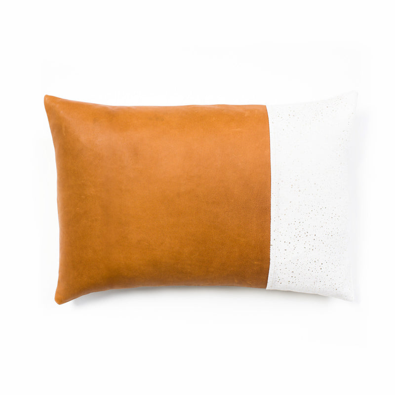 Lang Leather & Linen Cushion - Tan