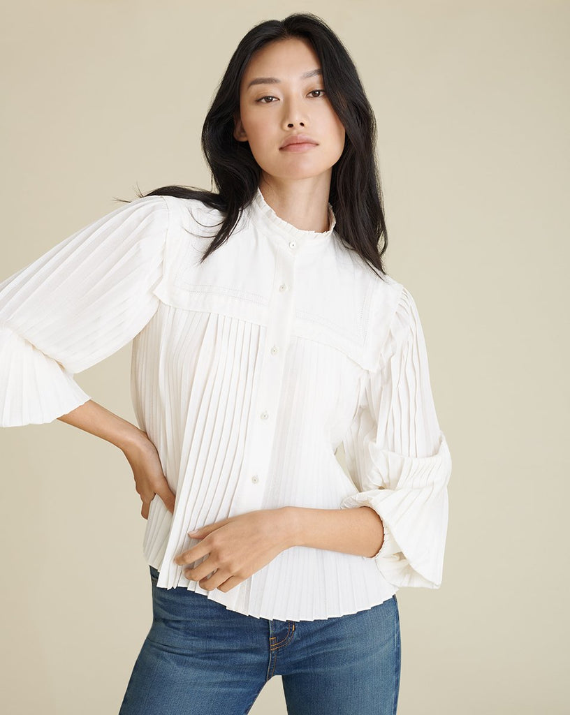 Stila Pleated Top in Off White