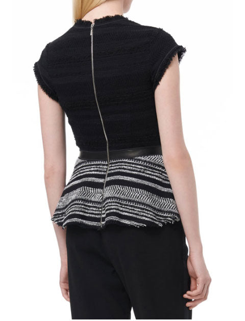 Stripe Tweed Peplum Top