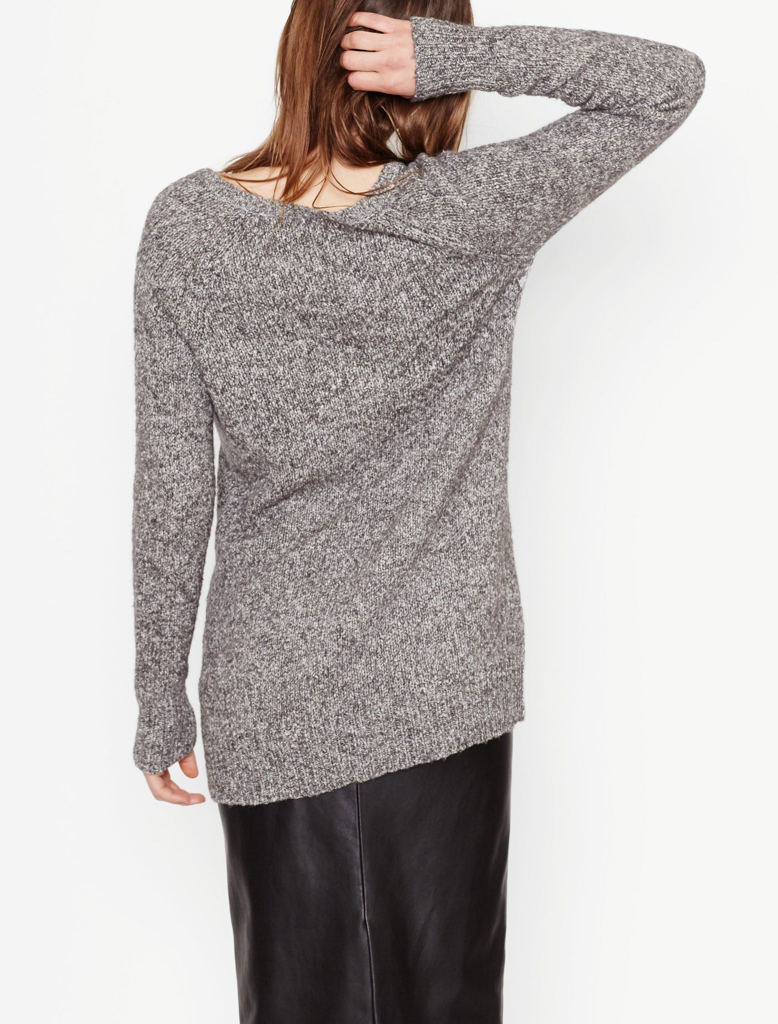 Asher V-Neck Sweater in Heather Grey Multi