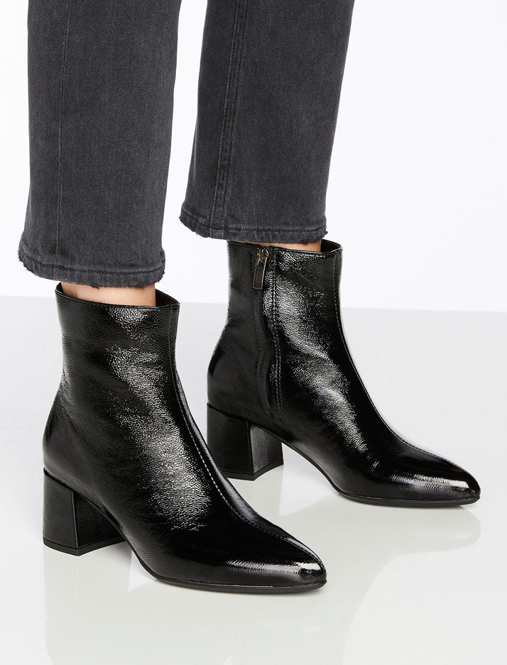 Darling Black Crinkle Leather Bootie