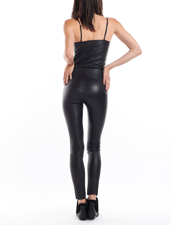 Black Ankle Leather Leggings