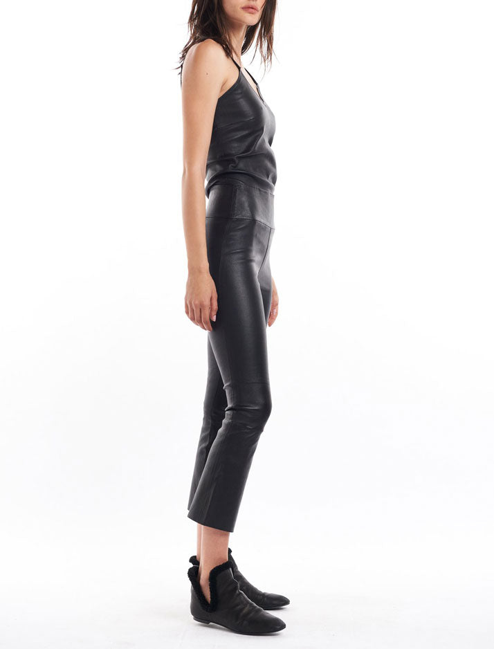 Black Crop Flare Leather Pant