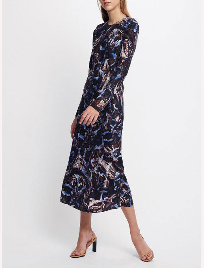 Full Sleeve Bias Cut Dress in snake