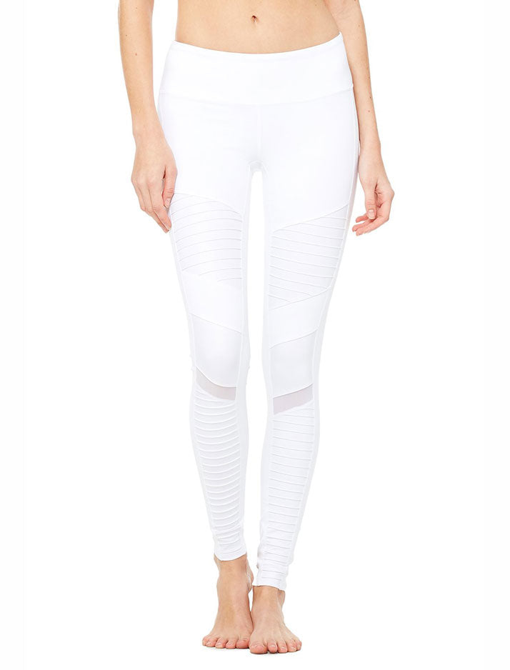 High waist moto legging in white