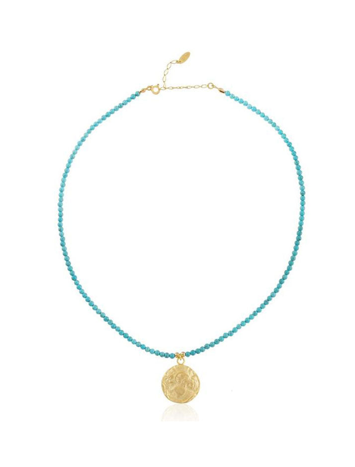 Beaded Coin Necklace in turquoise