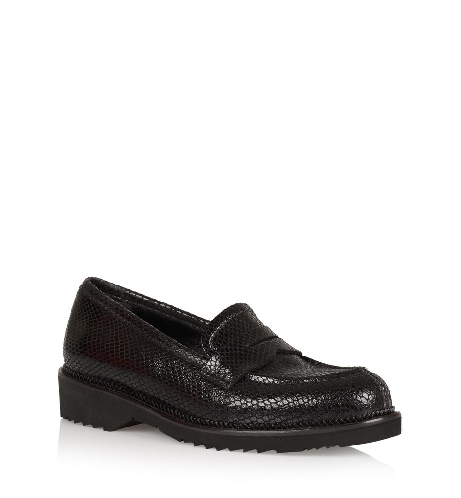 Hepburn Snake Embossed Suede Loafer