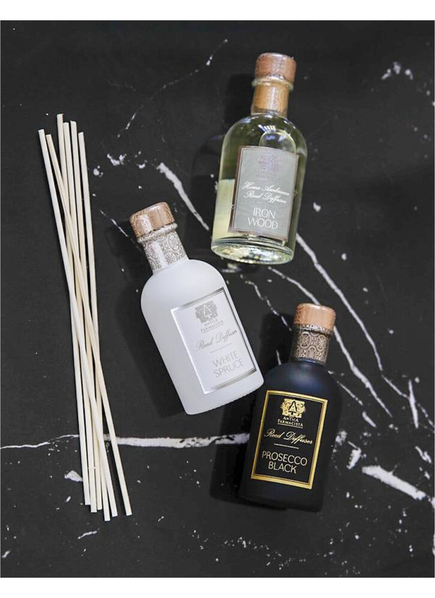Holiday Diffuser Trio. Ironwood, White Spruce and Prosecco Black