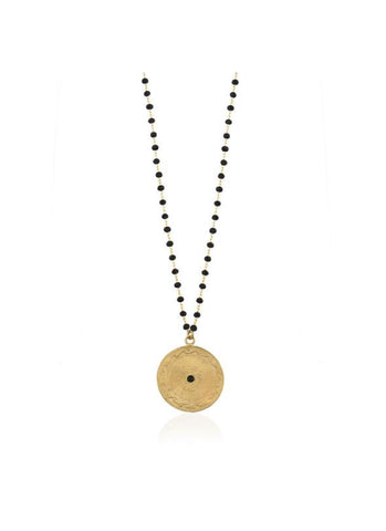 Necklace Blackbead Coin Dante