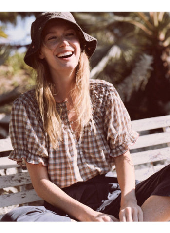 The Hazel Top. Meadow Plaid
