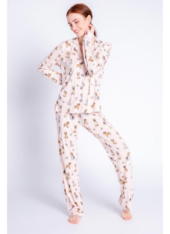 Playful Prints Love Dogs PJ Set in Blush