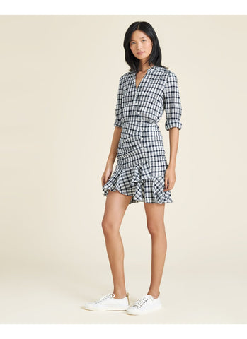 Sherry Crinkled Plaid Minidress  in Off-White/Navy
