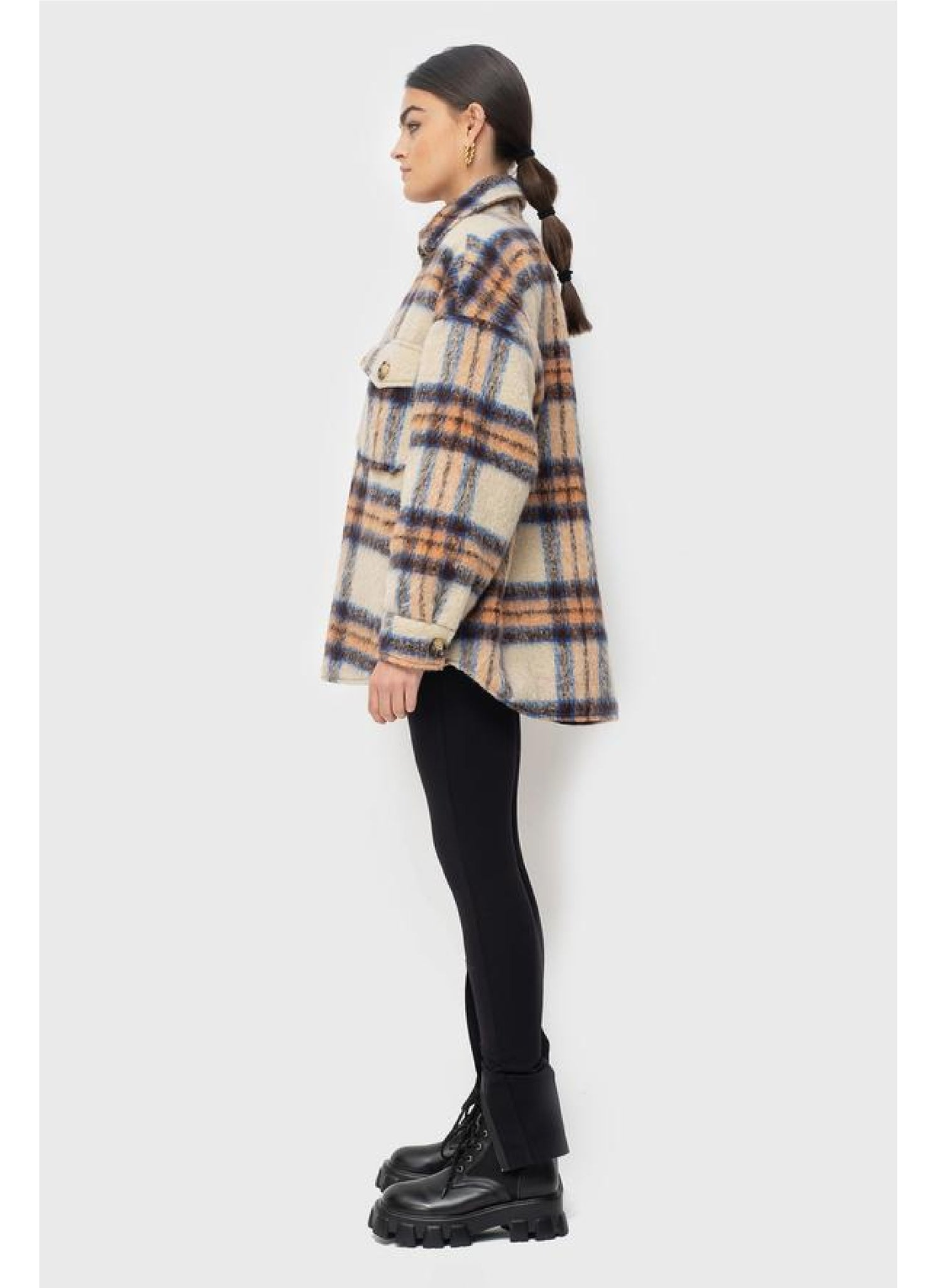 Lena Jacket Lined in Beige/Orange Check