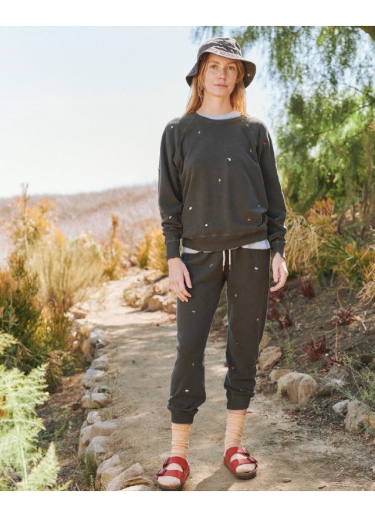The Cropped Sweatpant. Washed Black with Tossed Floral Embroidery