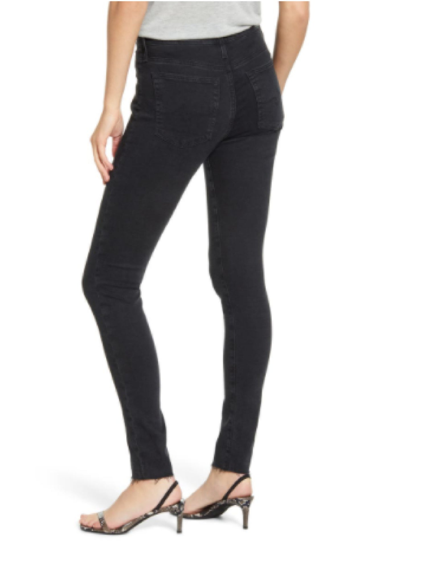 Farrah Skinny Ankle Altered Black with Clean Raw Hem