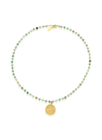 Green Bead Coin Necklace