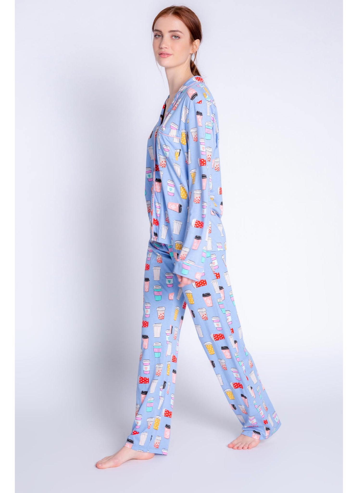 Playful Prints Love Latte PJ Set in Peri