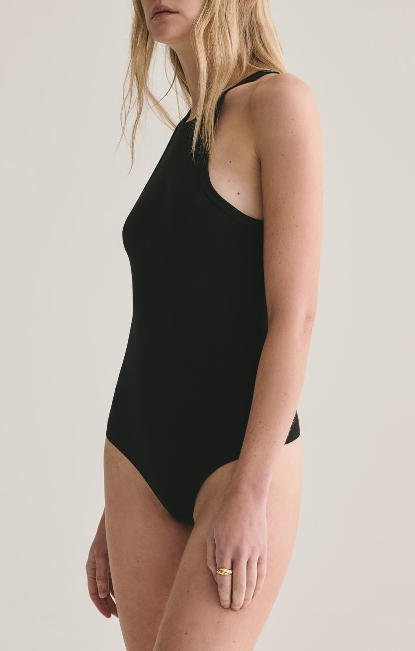 Rianne High Neck Racerback Bodysuit in Black