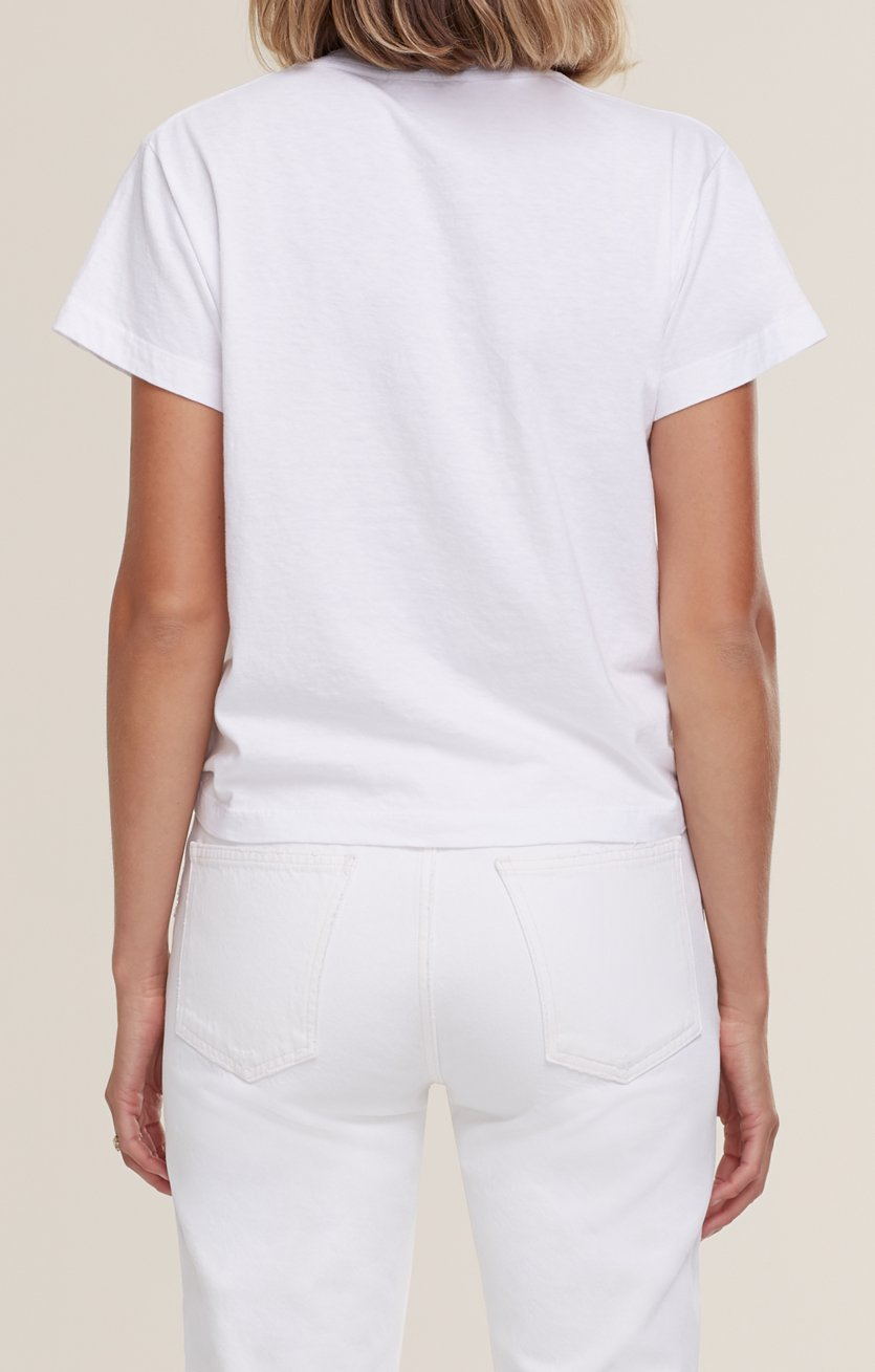 Thea V Neck T Shirt in White