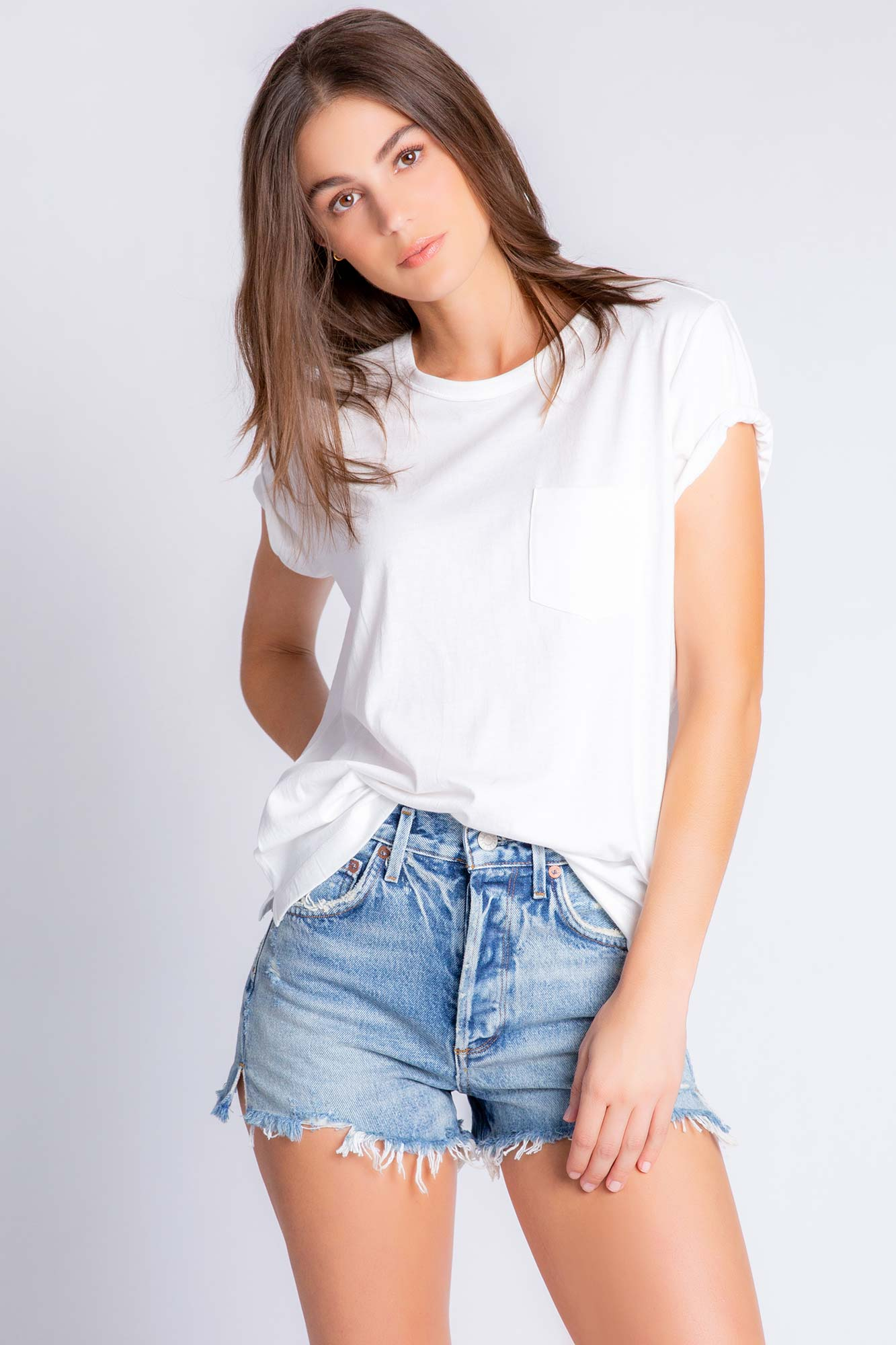 Back To Basics Solid Short Sleeve T-Shirt in Ivory
