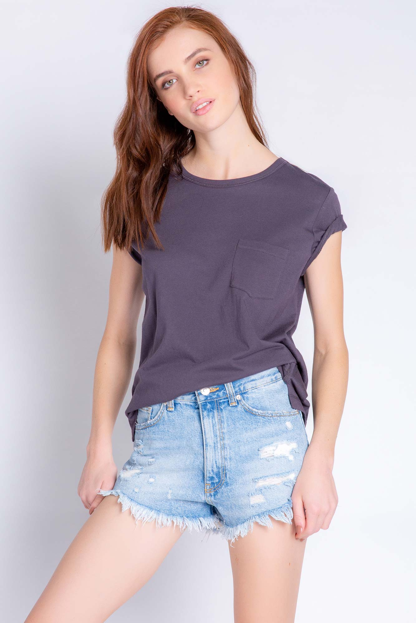 Back To Basics Solid Short Sleeve T-Shirt in Slate