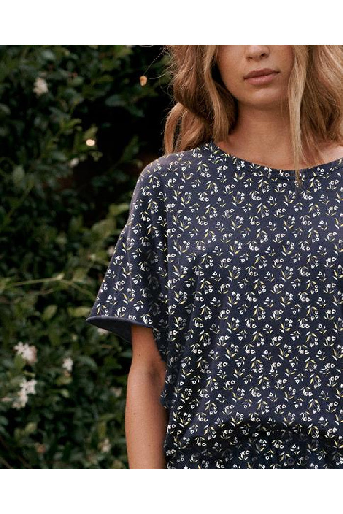 The Cut Edge Tee. Navy Apron Floral