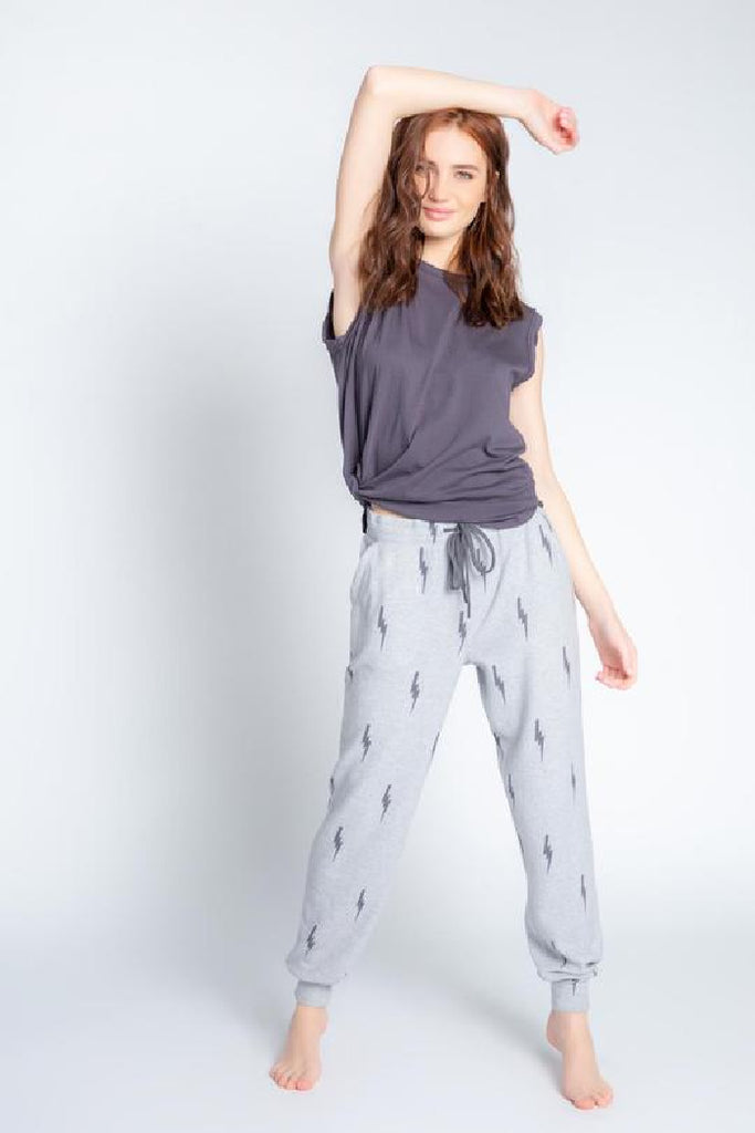 Stormy Monday Banded Pant in Lightning Bolt Heather Grey