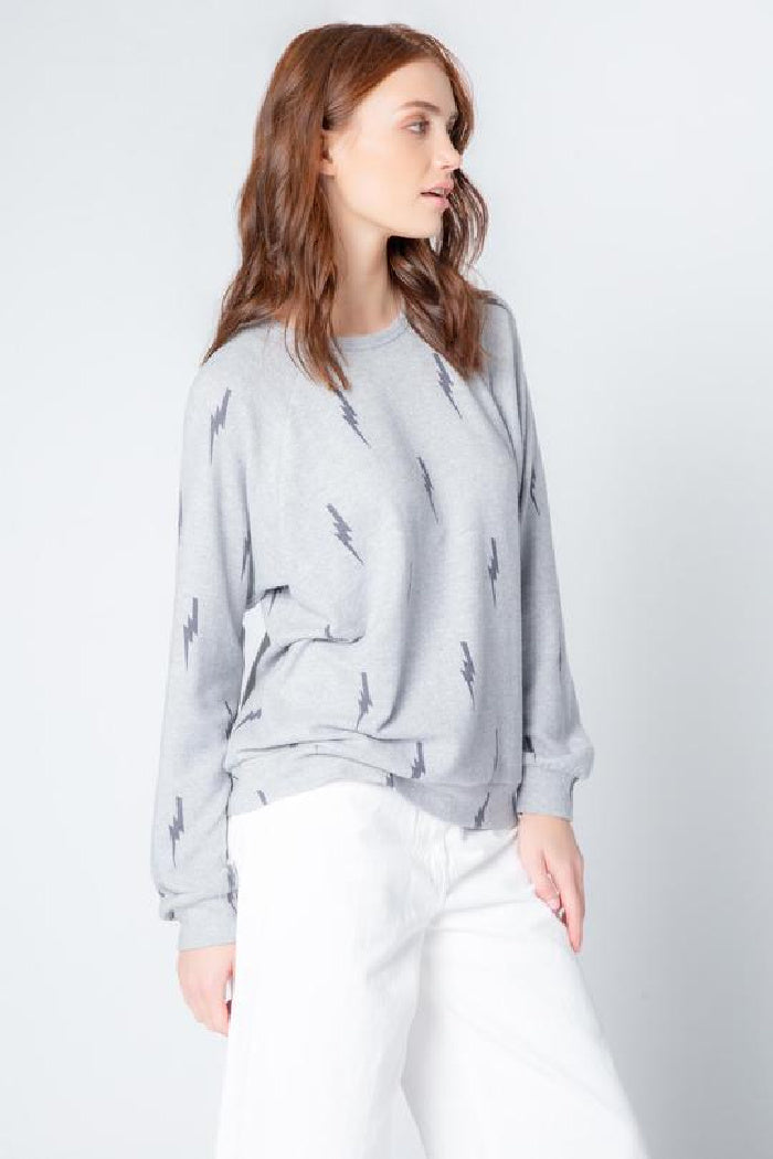 Stormy Monday Long Sleeve Top in Lightning Bolt Heather Grey