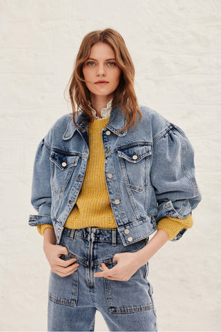 Dilara Cropped Jean Jacket. Denim