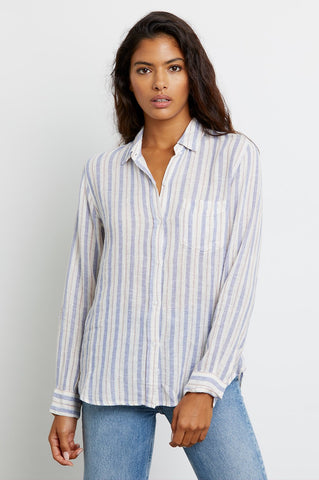Charlie Button Down Top in Bacara Stripe