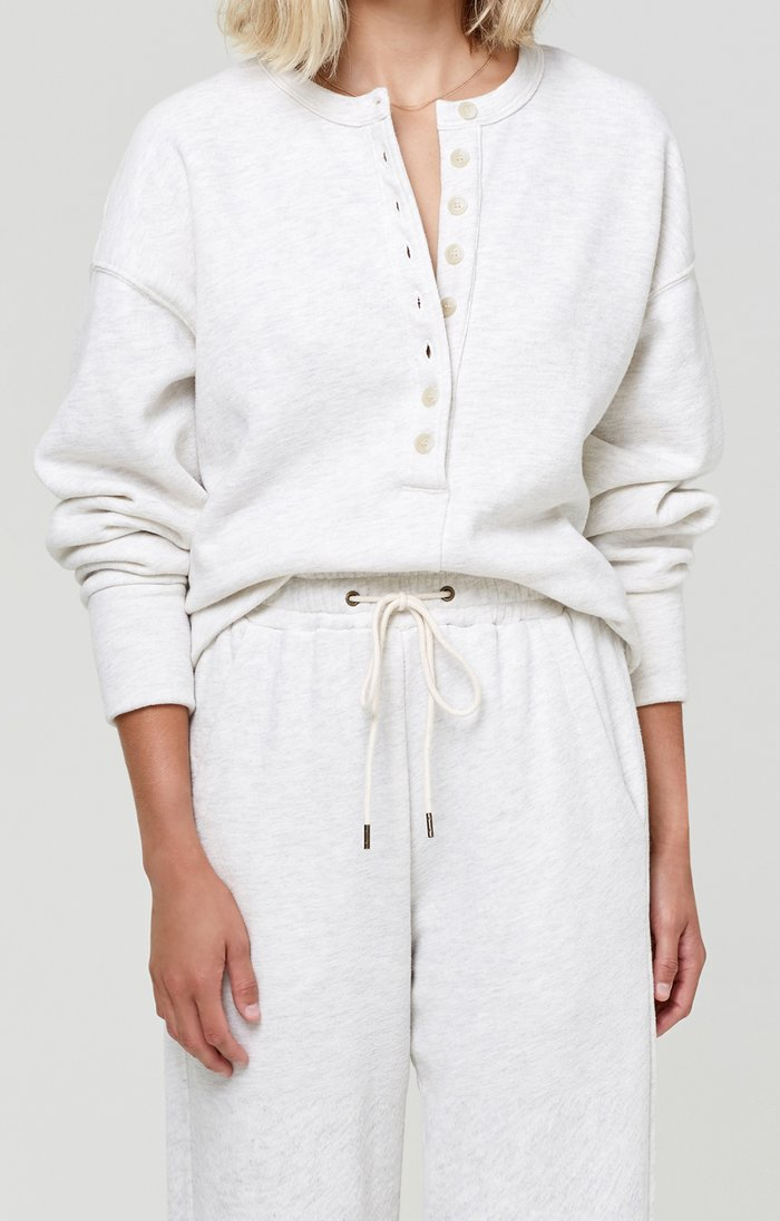 Cora Henley Sweatshirt in Oatmeal