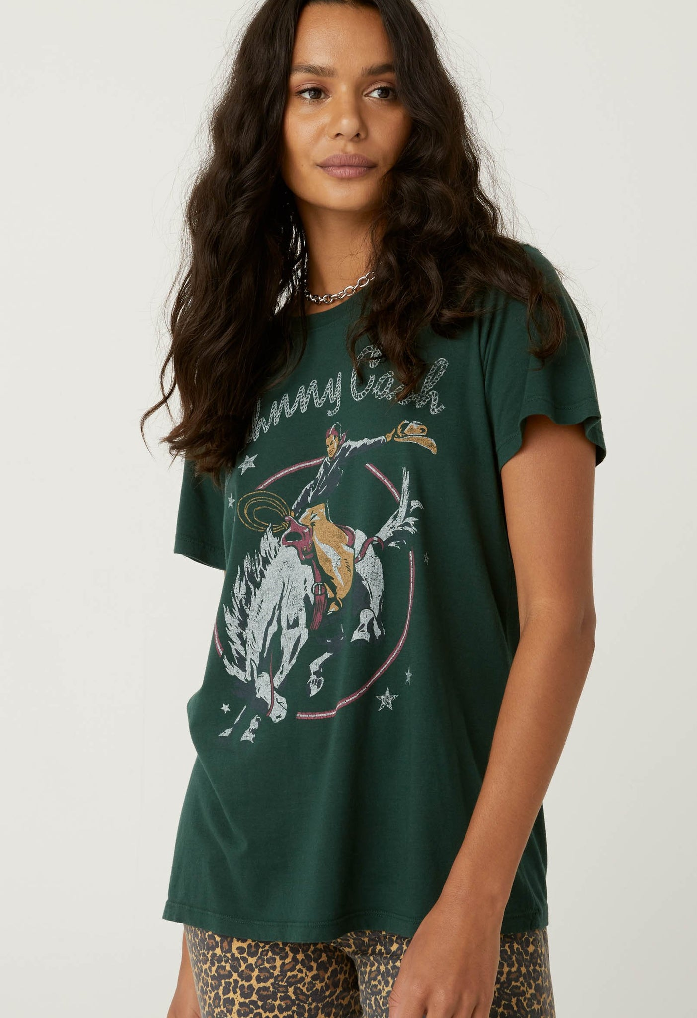 Johnny Cash Rodeo Tee in Emerald