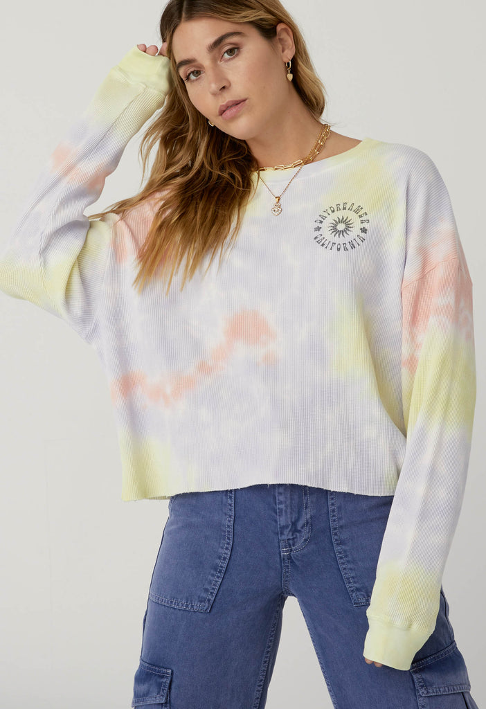 Daydreamer Sun Cropped Thermal in Blossom Tie Dye