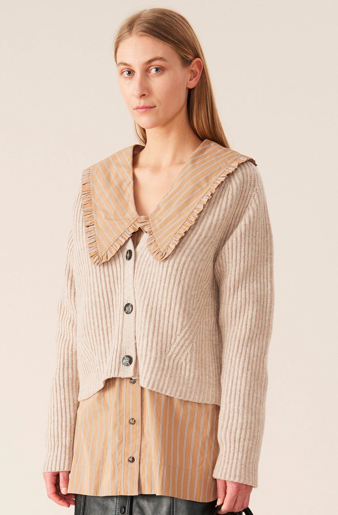 Rib Knit Cardigan in Brazillian Sand