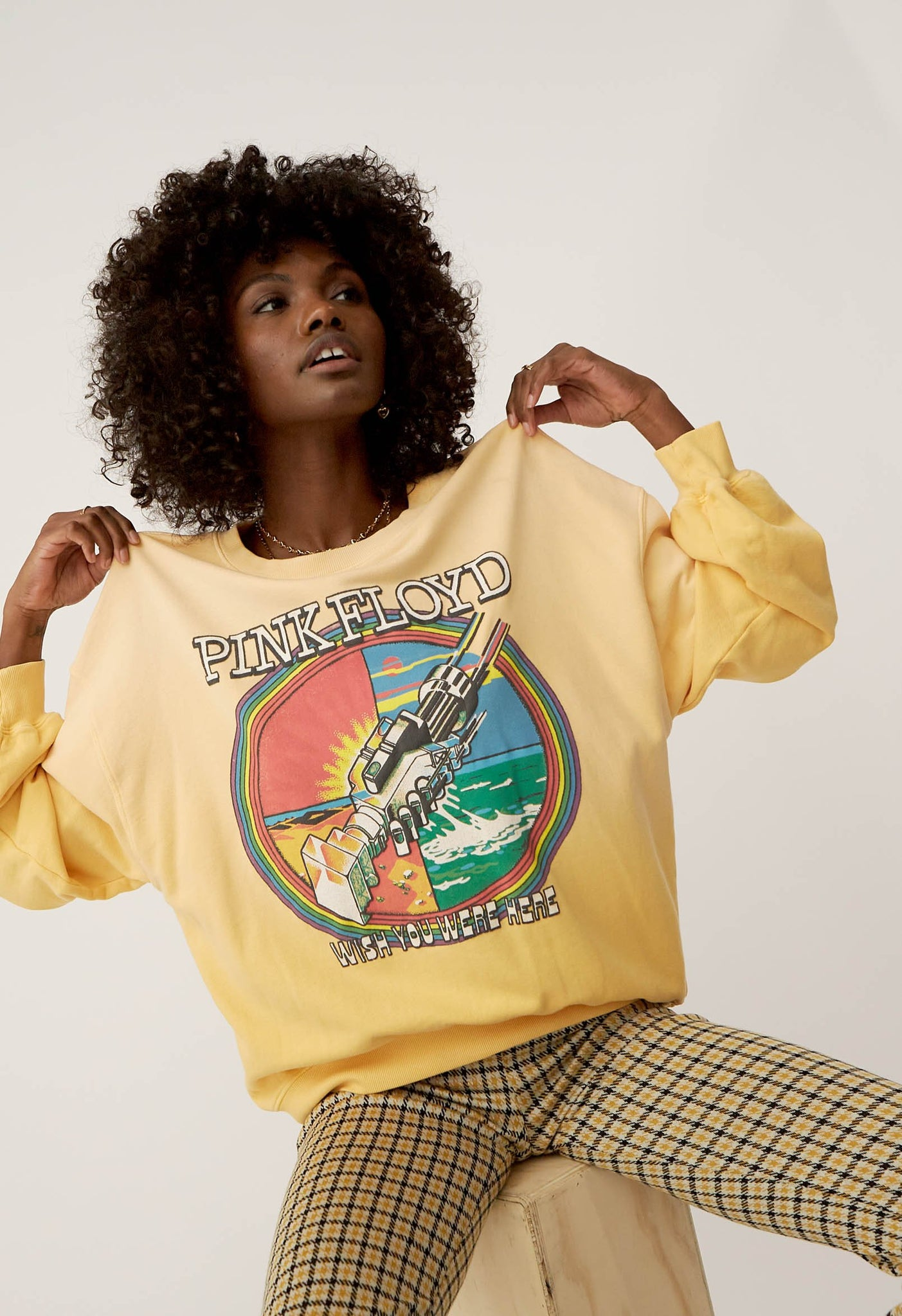 Pink Floyd Wish You Were Here Oversized Crew Sweatsshirt in Sunny