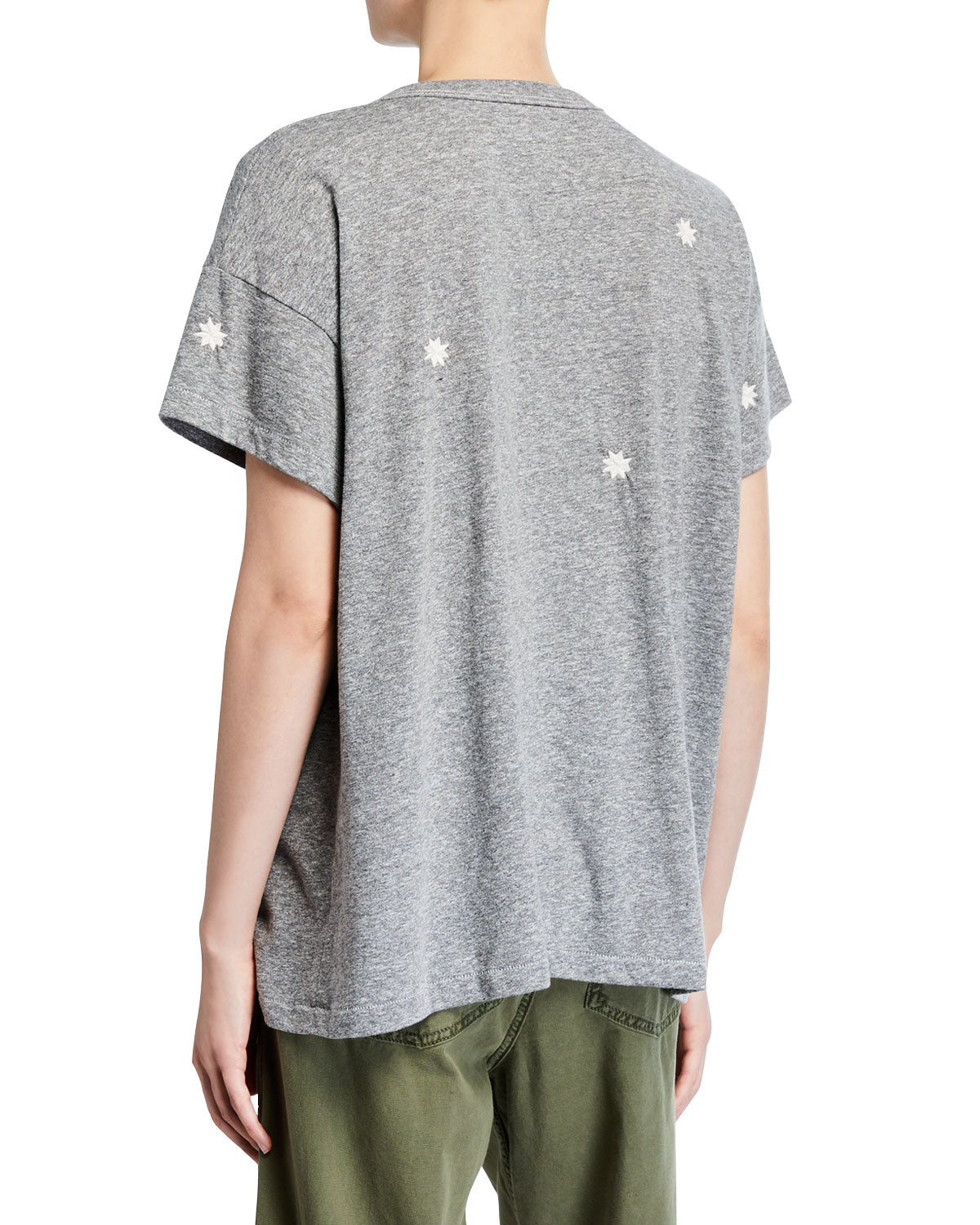 The Boxy Crew with Badge Embroidery Heather Grey