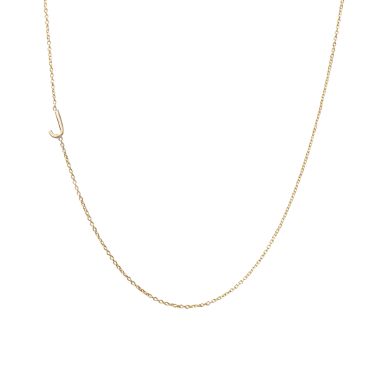 "Mini Initial Necklace with One Initial 16"" - Letter L in Yellow Gold"