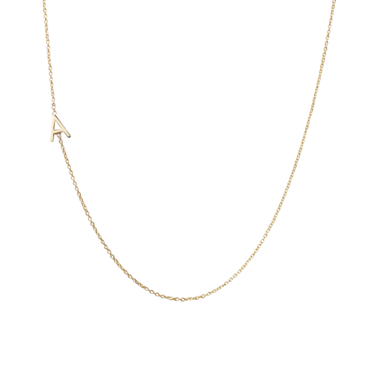 "Mini Initial Necklace with One Initial 16"" - Letter A in Yellow Gold"